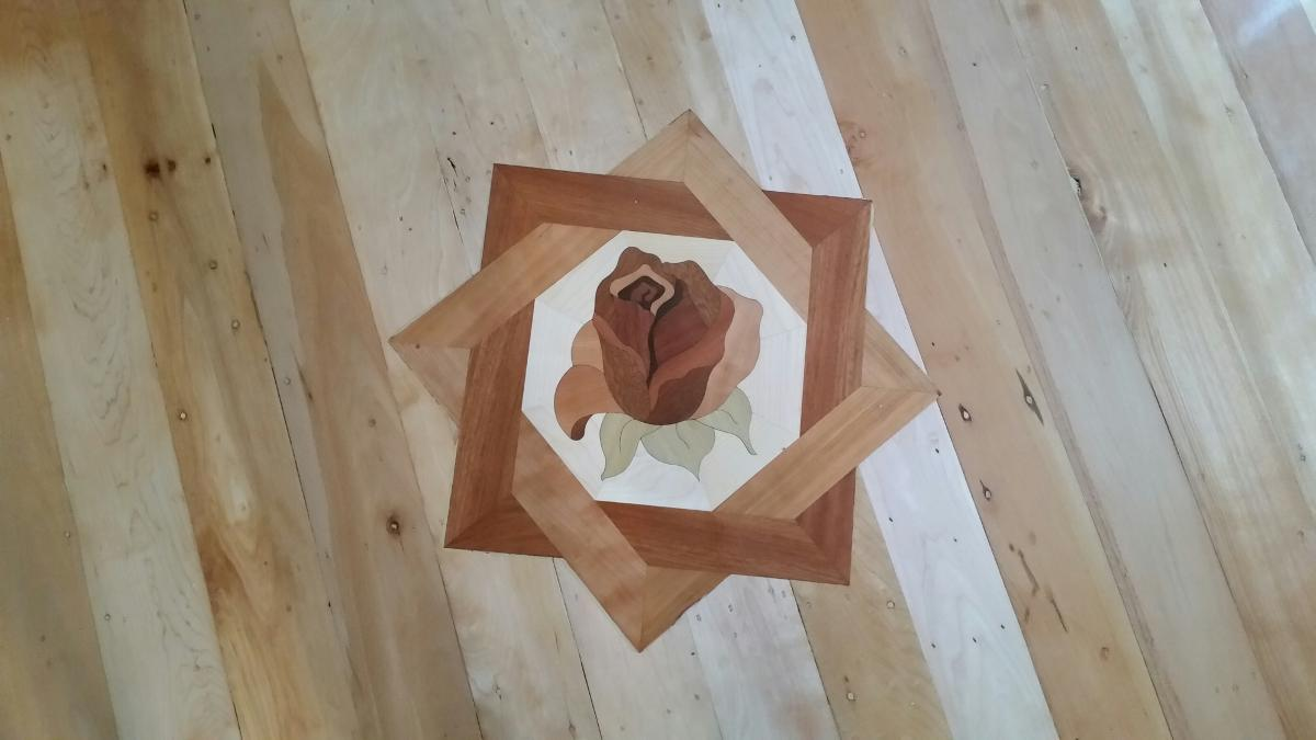 custom designs rose meddallion Wood Floor Installation Manchester & Concord, NH