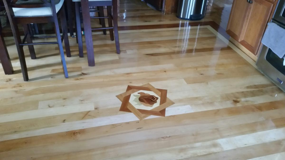 Rose Meddallion 2 200 year old reclaimed beech with brazilian cherry border Wood Floor Installation Manchester & Concord, NH