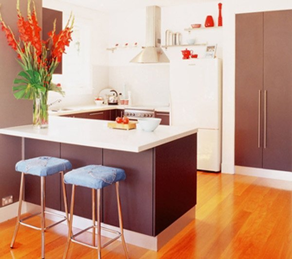 kitchen after renovation with flowers on the counter