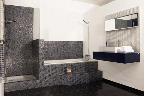 bathroom with granite accents