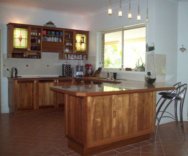 kitchen with wood before renovation