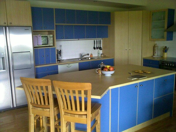 kitchen with blue accents before renovation