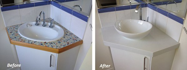before and after of corner sink
