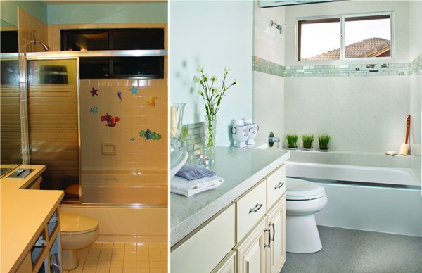 before and after of bathroom renovation