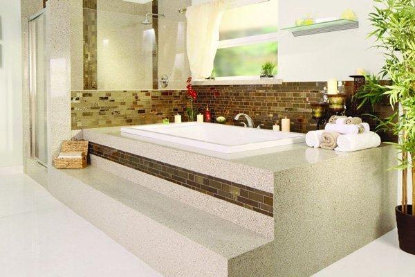 bathtub with mosaic tiling