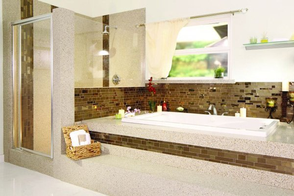 modern bathroom with mosaic tiling and granite counters