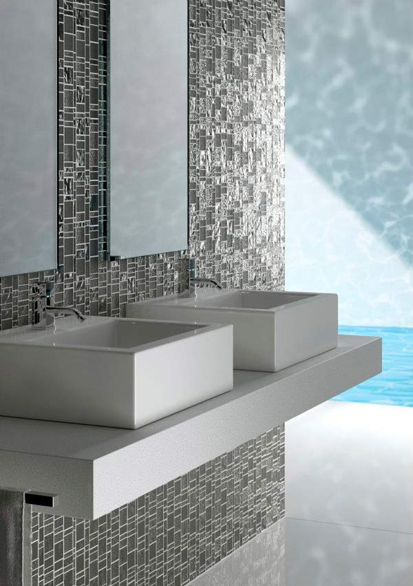 modern kitchen with square sinks