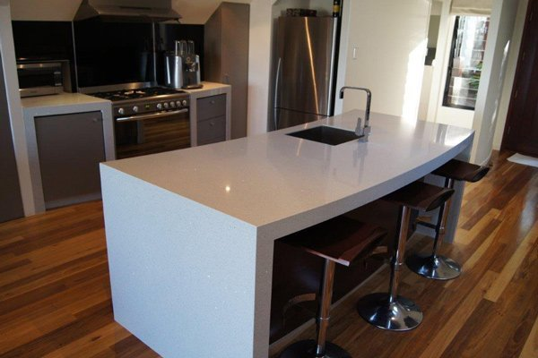 kitchen with granite counter and wood floor