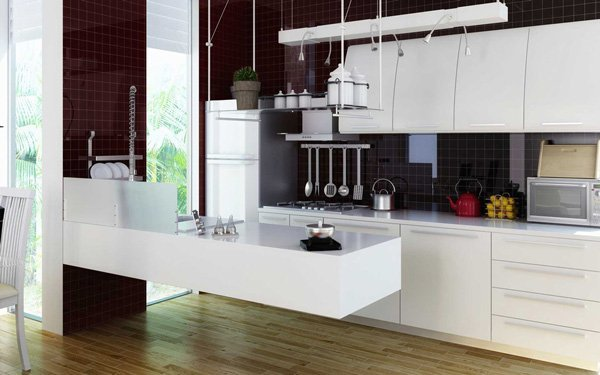 modern kitchen with granite hanging countertop