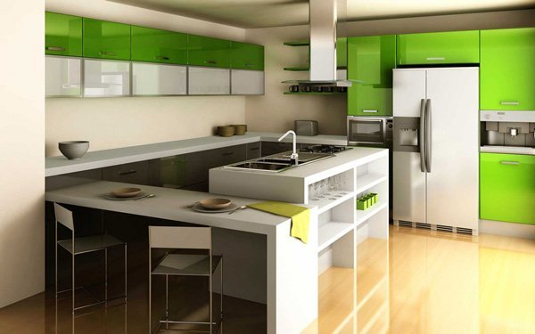 kitchen with green accents