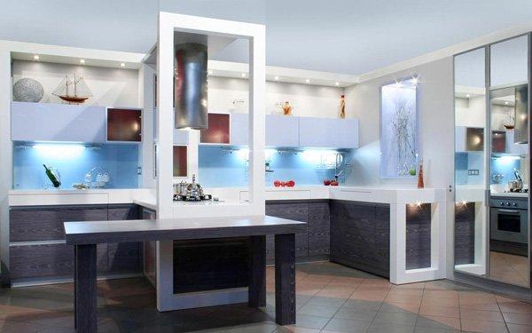 modern kitchen with blue lights