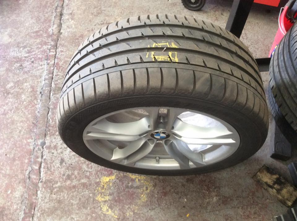 a tyre at PJT Car Care's garage in Sheffield