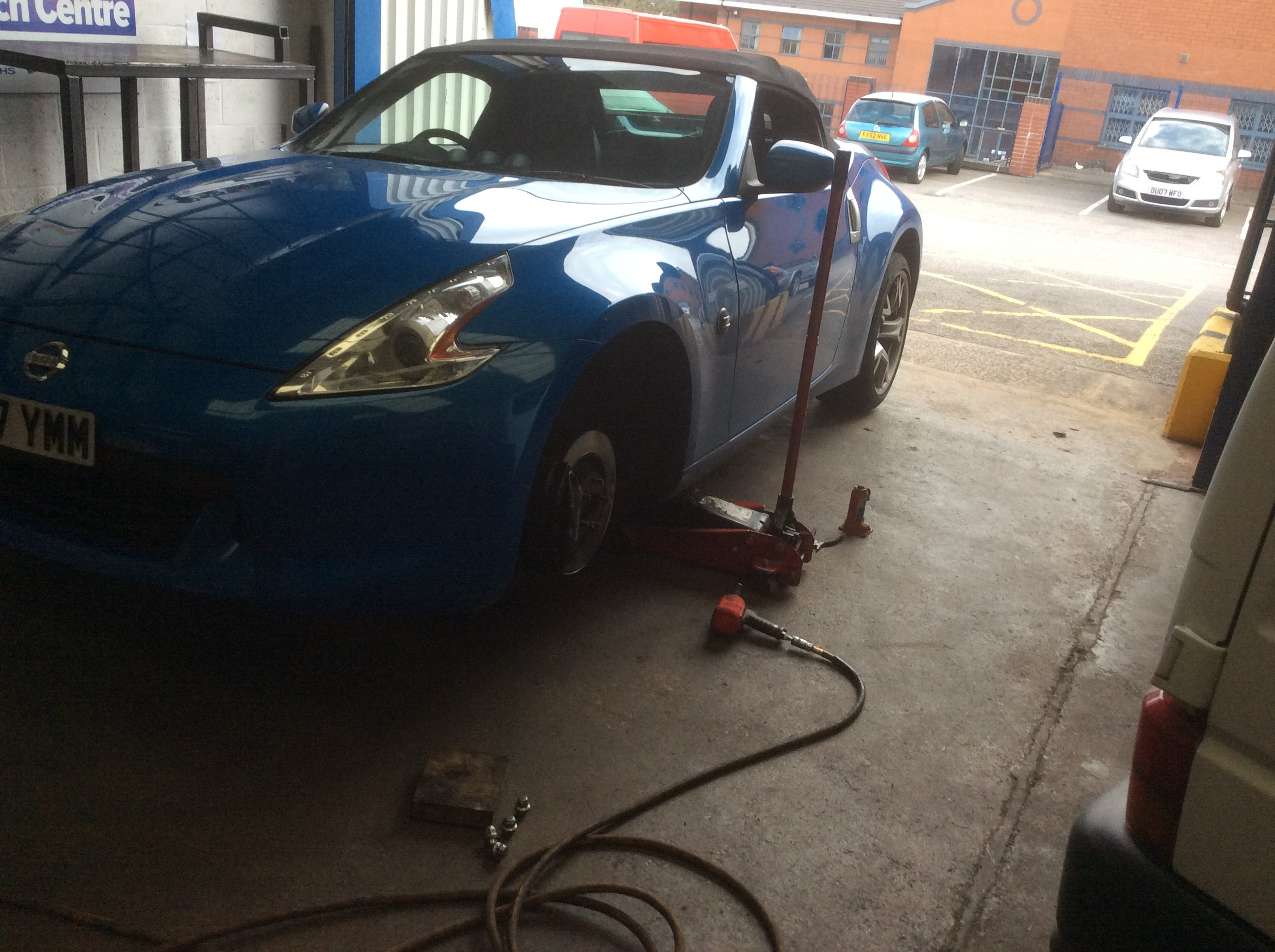 a car at PJT Car Care's garage in Sheffield