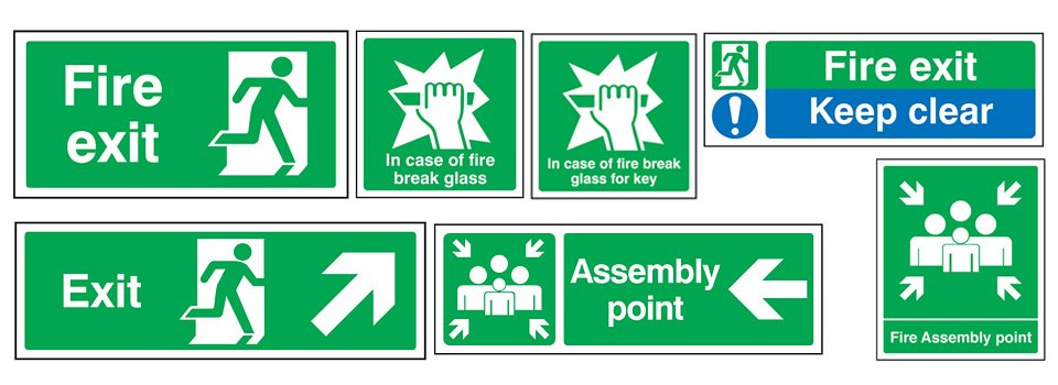 Fire exit and safety signs