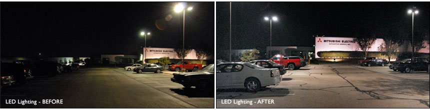 A before and after picture of LED lighting on a parking lot