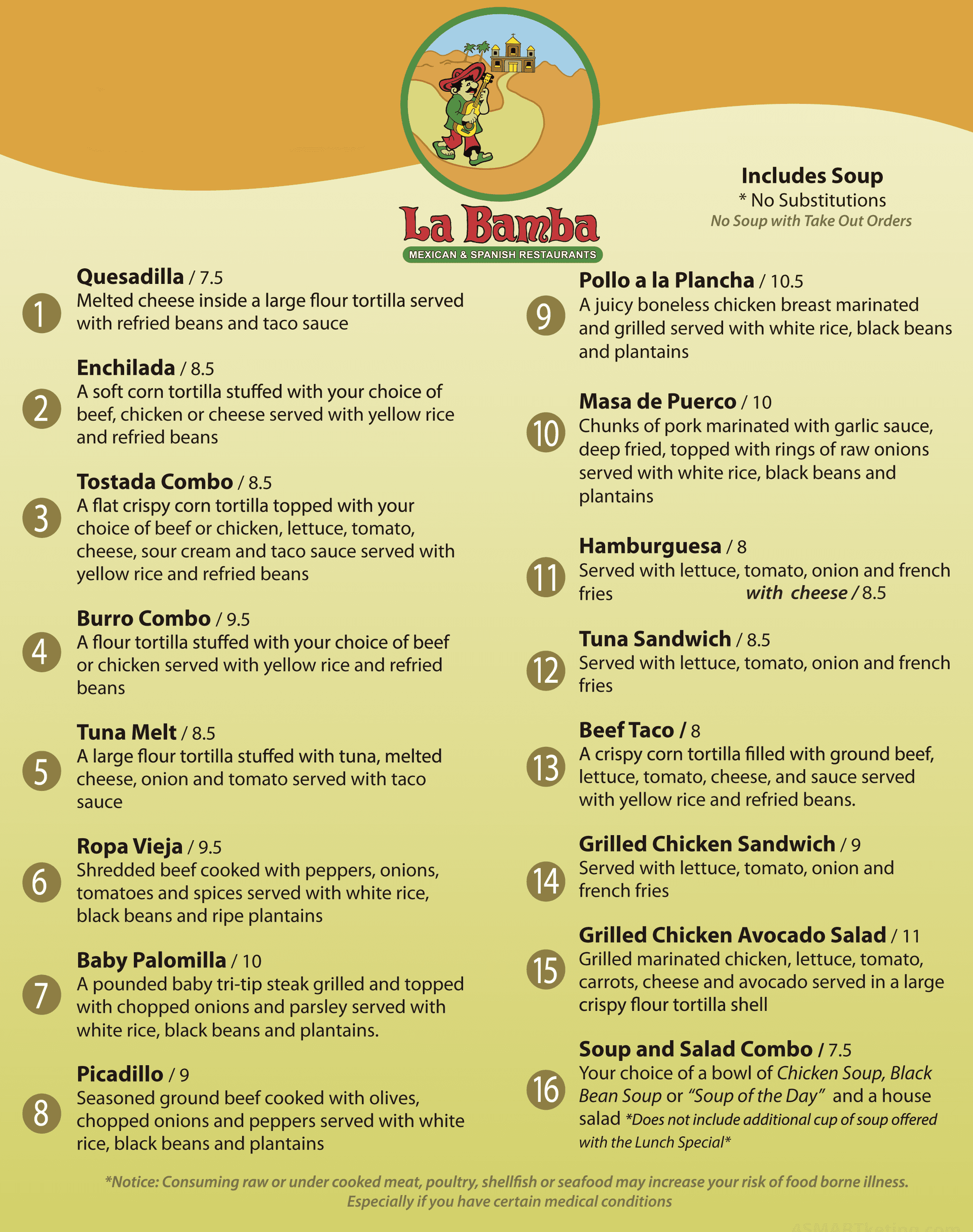La Bamba Mexican and Spanish Restaurants Lunch Menu
