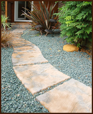 A stone path over gravel