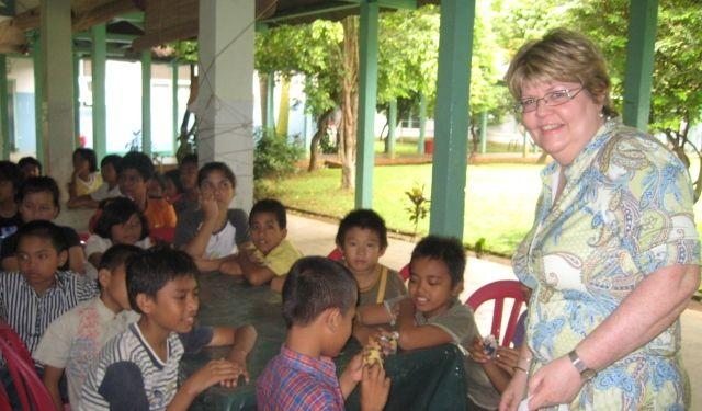 The author's wife Colleen at the orphanage