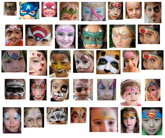 Complex face painting for child's character party