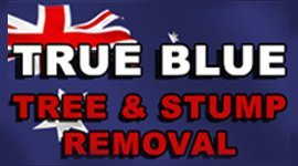 true blue tree and stump removal logo