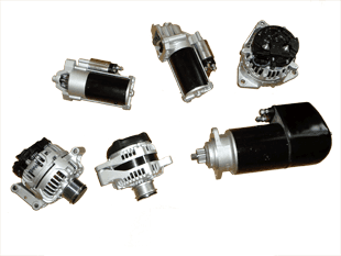 Picture of various car parts such as batteries and alternators