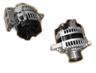 Two black and silver alternator parts