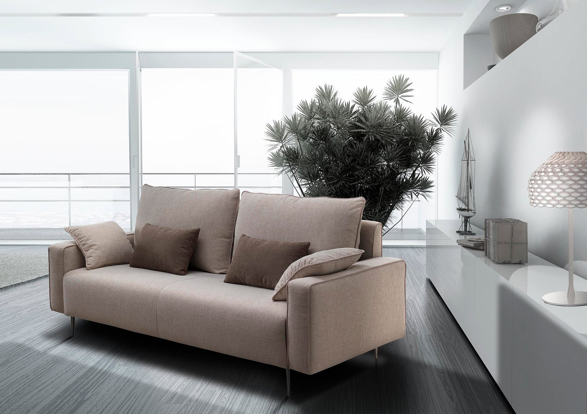 render di salotto con divano e libreria