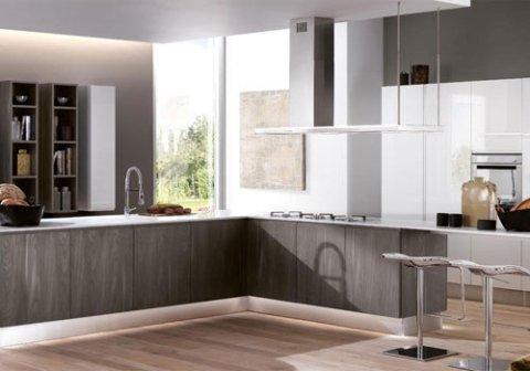 isola di cucina in legno grigio