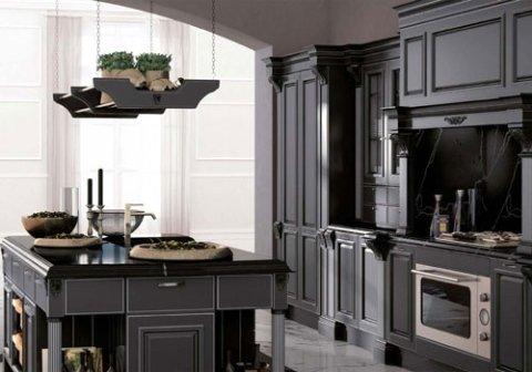 una cucina in legno con isola