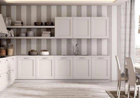 cucina in legno bianco