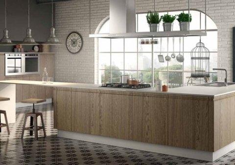 una cucina con penisola