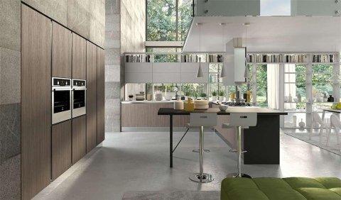 zona living con cucina in legno