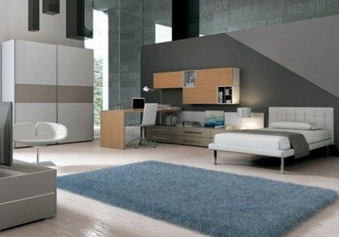 camera da letto con mobili in legno bianco e grigio