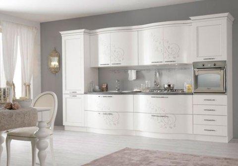 cucina bianca shabby chic e sedia