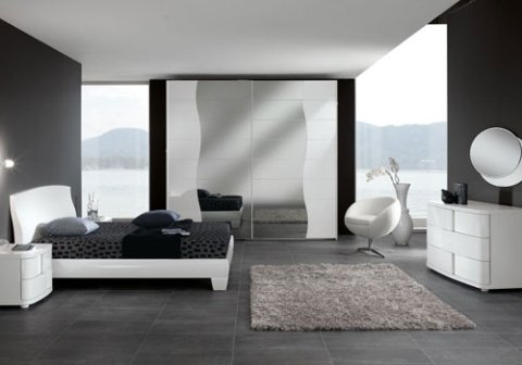 camera da letto con mobili bianchi moderni
