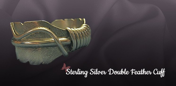 Sterling Silver Double Feather Cuff