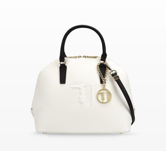 borsa bianca con manici neri