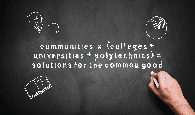Communities + Colleges + Universities=Better World