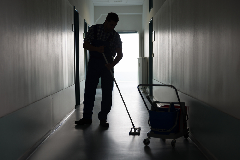 Janitor performing excellent cleaning services in Waterbury, CT