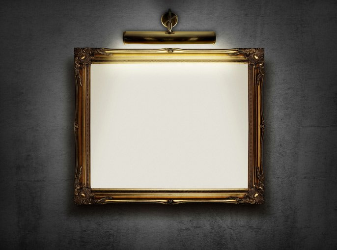 decorative golden picture frame in gallery