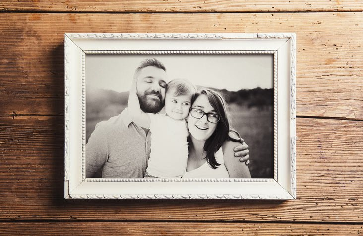 picture frame with family photo