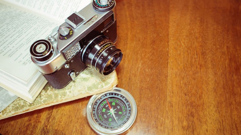 camera and compass