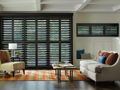 dark shutters in living area