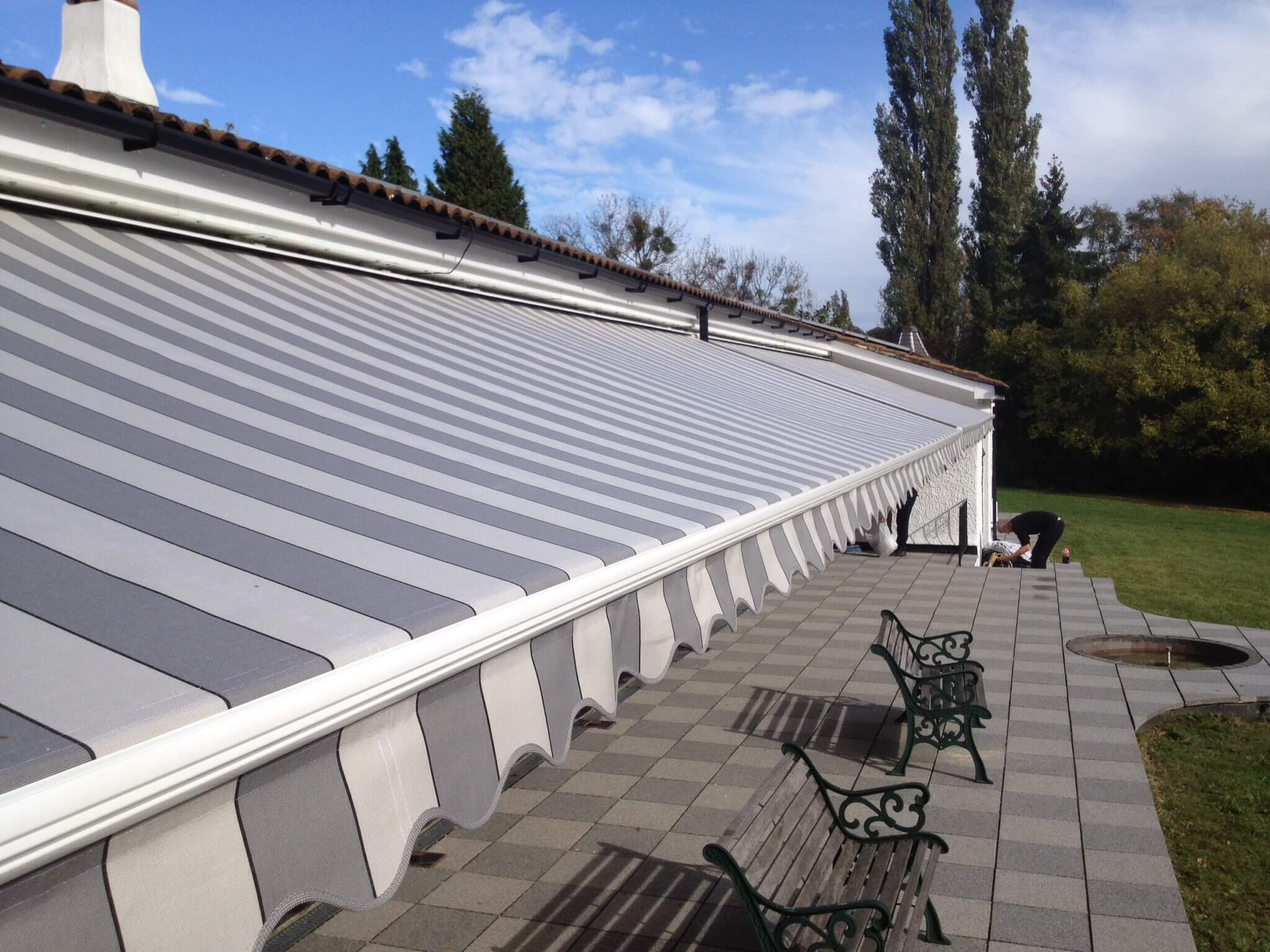 grey and white awning