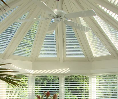 white conservatory shutters