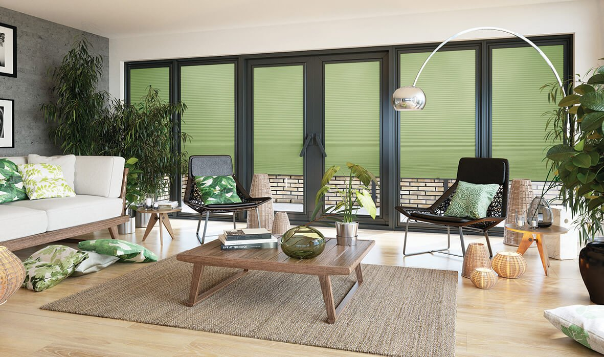 green blinds in living room