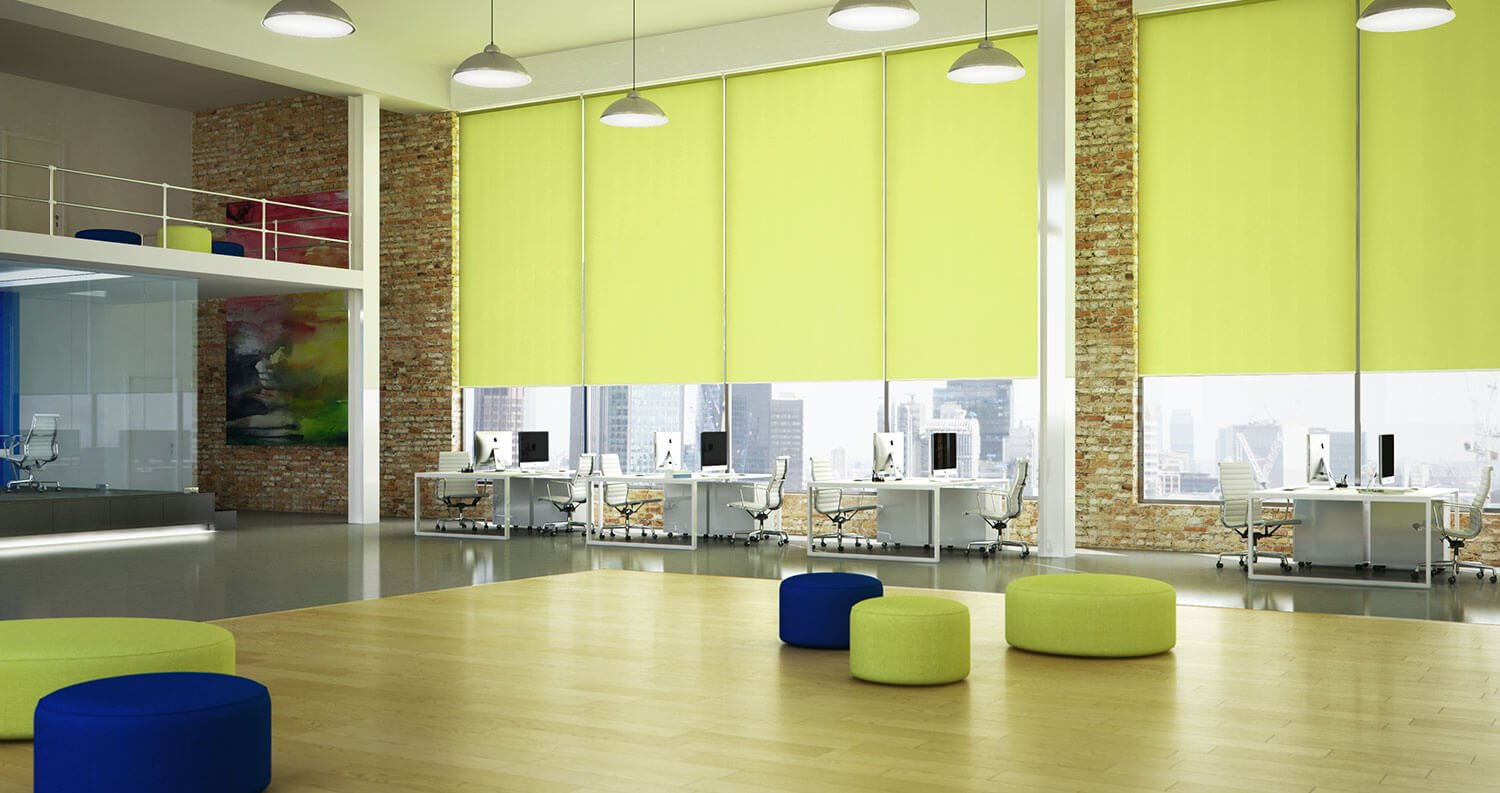 green roller blinds in office
