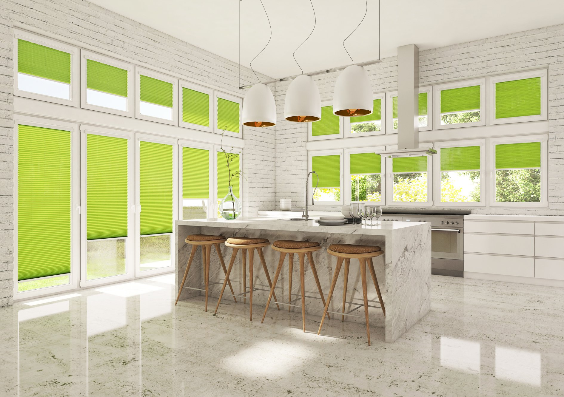 neon pleated blinds