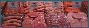 sausages and burgers in a butchers