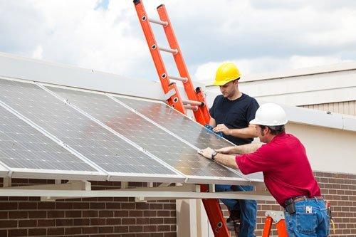 Roof top solar panel installation